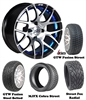 "14"" GTW Pursuit Blue/Black Wheels with Low Profile Golf Cart Tire"