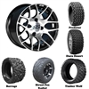 14x7 GTW Pursuit Machined Wheels with Lifted Golf Cart Tire