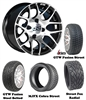 14x7 GTW Pursuit Machined Wheels with Low Profile Golf Cart Tire