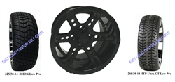 14x7 RX262 Gloss Black Wheel and Low Profile Tire