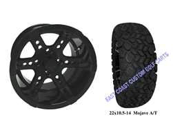 "14x7 RX262 Gloss Black Wheel with a 22"" All Terrain Tire"