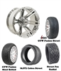 "14"" Chrome Specter Wheels with Low Profile Golf Cart Tire"