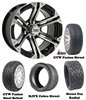 "14"" Specter Machined & Black Wheels with Low Profile Golf Cart Tire"