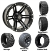 14x7 Specter Matte Black Wheels with Lifted Golf Cart Tire