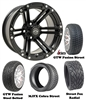 "14"" GTW Specter Matte Black Wheels with Low Profile Golf Cart Tire"