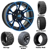 14x7 GTW Spyder Blue/Black Wheels with Lifted Golf Cart Tire
