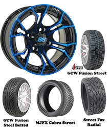 "14"" GTW Spyder Blue/Black Wheels with Low Profile Golf Cart Tire"