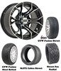 14x7 GTW Spyder Machined Wheels with Low Profile Golf Cart Tire