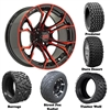 14x7 GTW Spyder Red/Black Wheels with Lifted Golf Cart Tire