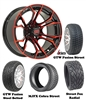 "14"" GTW Spyder Red/Black Wheels with Low Profile Golf Cart Tire"