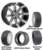 "14"" Tempest Machined & Black Wheels with Low Profile Golf Cart Tire"