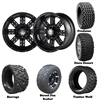 14x7 Transformer Matte Black Wheels with Lifted Golf Cart Tire