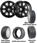 "14"" Transformer Matte Black Wheels with Low Profile Golf Cart Tire"
