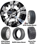 "14"" Vampire Machined & Black Wheels with Low Profile Golf Cart Tire"