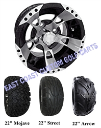 10x7 RX190 Machine Black Golf Cart Wheel with Your Tire Choice