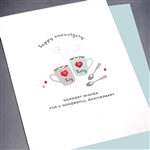 "Anniversary  "" Coffee Cups ""  AN29 Greeting Card"