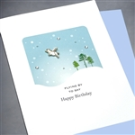 "Birthday "" Flying Pig ""  BD251 Greeting Card"