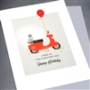 "Birthday  "" Red Scooter ""  BD295 Greeting Card"