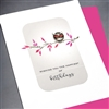 "Birthday  "" Pink Owl ""  BD324 Greeting Card"