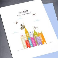 "Birthday "" Monkey & Airplanes ""  BD343 Greeting Card"