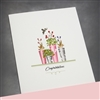 "Congratulations "" Flower Pots / Pink & Grey ""  CG17 Greeting Card"