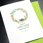 "Easter  "" Bird & Wreath ""  ES30 Greeting Card"