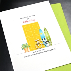 "Father Day  "" Bicycle & Surfboards ""  FD93 Greeting Card"