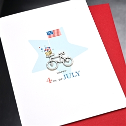 "4th Of July  "" bicycle ""  IN17 Greeting Card"