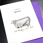 "Mother's Day  "" Sheep With Pearls ""  MD120 Greeting Card"