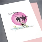 "Palm Springs  "" Sunset Flamingo ""  PS05 Greeting Card"