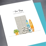 "San Diego  "" Bicycle & Surfboard ""  SD19 Greeting Card"