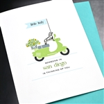 "San Diego  ""Dachshund & Scooter ""  SDFR03 Greeting Card"