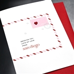 "Birthday  "" Red Heart ""  SDLV04 Greeting Card"
