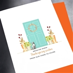 "Thanksgiving  "" Cat & Door ""  TH17 Greeting Card"