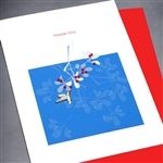 "Thank You "" Bird & Red Beads ""  TY51 Greeting Card"