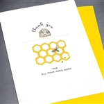 "Thank You  "" Bee Hive ""  TY82 Greeting Card"