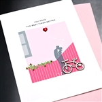 "Valentine  "" Bicycle ""  VT19 Greeting Card"