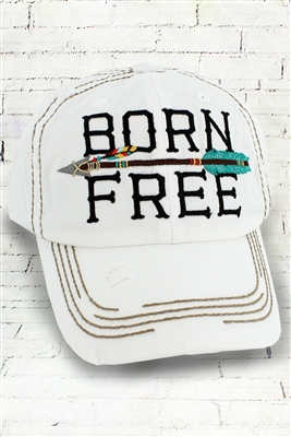 "Distressed ""Born Free"" Arrow Hat in White"