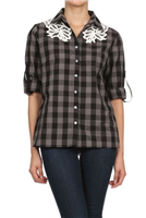 Gray and Black Plaid Lace Collar Shirt