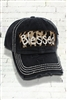 Distressed Black and Leopard BLESSED Cap