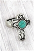 Burnished Silvertone Christian Fish & Turquoise Cross Ring ~