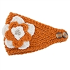 Crocheted Headwrap - Burnt Orange and White