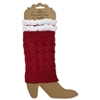 Crochet and Lace Boot Cuff - Red and White