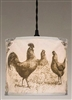 Country Morning Rooster Drum Pendant Lamp