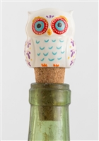 White Ceramic Owl Bottle Stopper by Natural Life