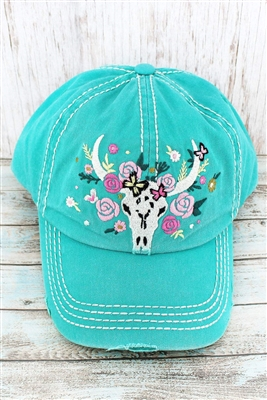 Turquoise Distressed Floral Steer Cap