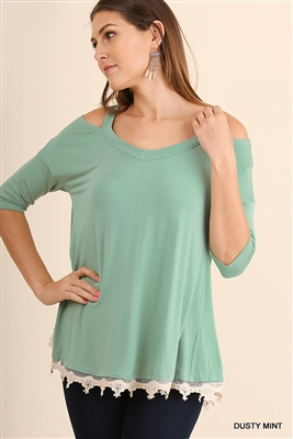 Dusty Mint Open Shoulder Tunic