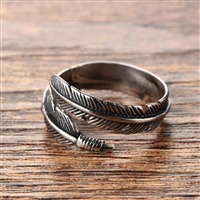 Festival Vibes Adjustable Feather Ring