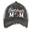 Football Mom Distressed Truckers Cap by Katydid