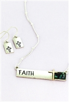 Worn Silvertone & Abalone FAITH Bar Necklace & Earring Set